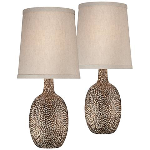 Carved Two Tone Brown Table Lamp Set Of 2 T3585 T3585