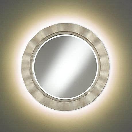 Hill and Dale Antique Silver Mirror with LED Light Kit