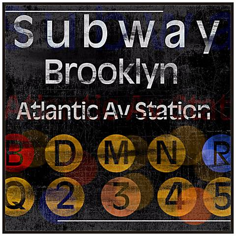 "Brooklyn Subway 20 1/2"" Square New York City Wall Art"