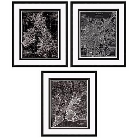 "Set of Three Reversed Maps 25 1/2"" High Framed Wall Art"