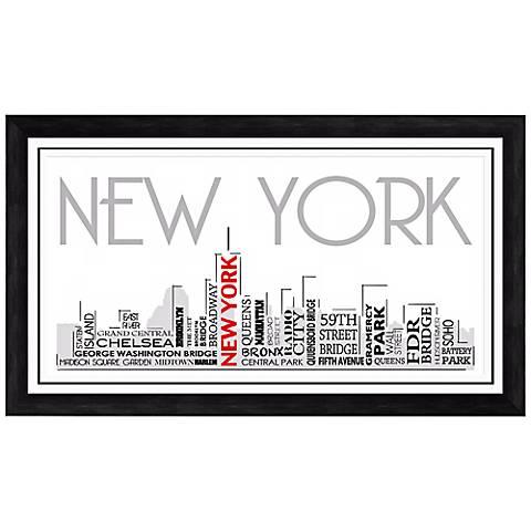 "New York City Skyline 28 1/2"" Wide Framed Wall Art"