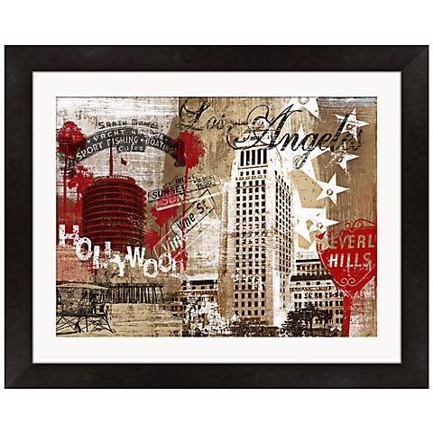 """Los Angeles Collage 21"""" Wide Framed Wall Art"""