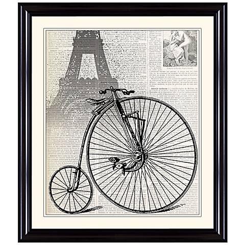 """Antique Bike in Paris 31 1/4"""" High Framed Wall Art"""