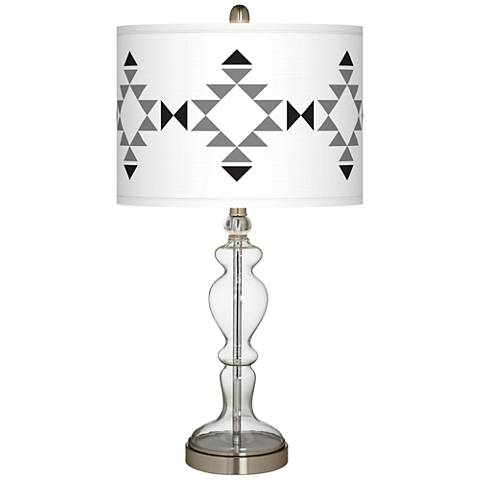 Desert Grayscale Giclee Apothecary Clear Glass Table Lamp