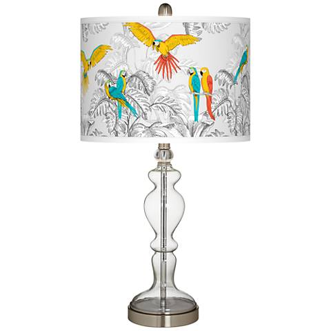 Macaw Jungle Giclee Apothecary Clear Glass Table Lamp