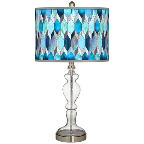 Blue Tiffany Giclee Apothecary Clear Glass Table Lamp