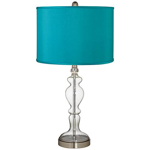 Teal Blue Faux Silk Apothecary Clear Glass Table Lamp