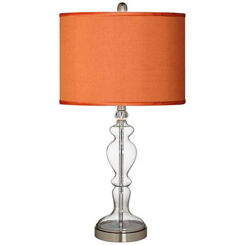 Orange Faux Silk Apothecary Clear Glass Table Lamp