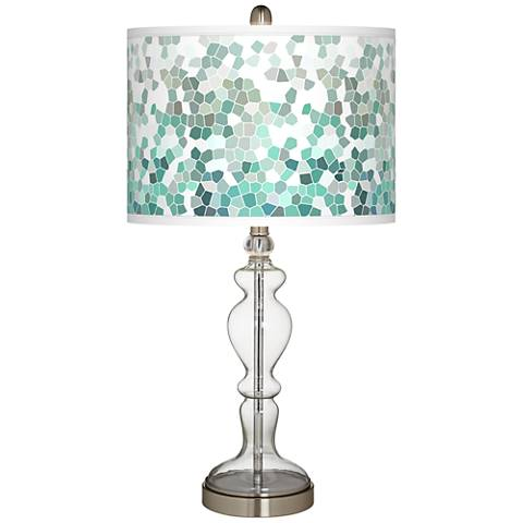 Aqua Mosaic Giclee Apothecary Clear Glass Table Lamp