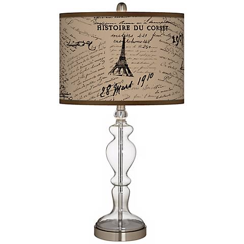 Letters to Paris Linen Apothecary Clear Glass Table Lamp