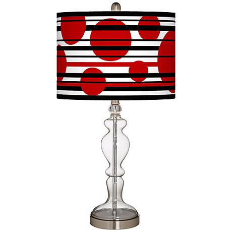 Red Balls Giclee Apothecary Clear Glass Table Lamp