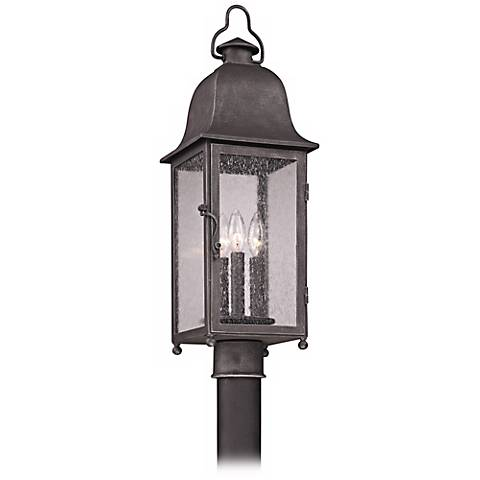 "Larchmont 25 1/4"" High Aged Pewter Outdoor Post Light"
