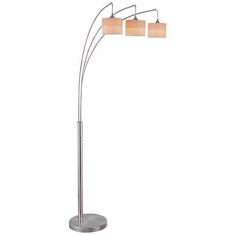 relaxar 3 light polished steel arc floor lamp w9918 lamps plus. Black Bedroom Furniture Sets. Home Design Ideas