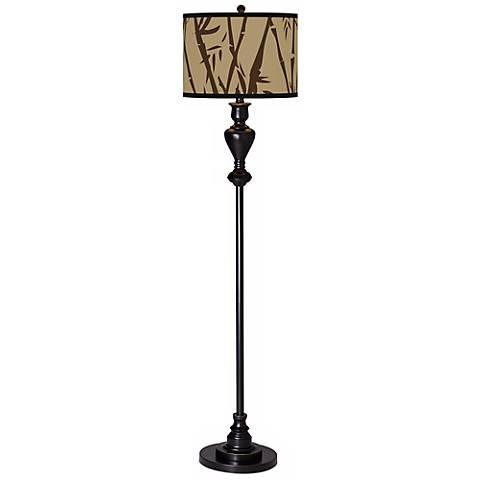 Earth Bamboo Giclee Glow Black Bronze Floor Lamp