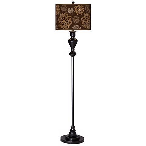 Chocolate Blossom Giclee Glow Black Bronze Floor Lamp