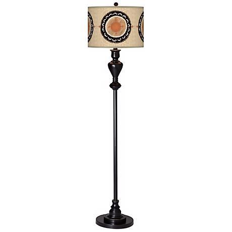 Travelers Compass Giclee Glow Black Bronze Floor Lamp