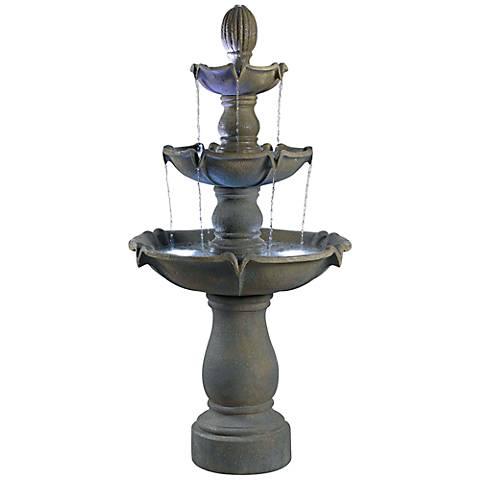 "Kenroy Home Sherwood Graystone 62""H 3-Tier Garden Fountain"