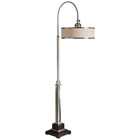 uttermost amerigo brushed aluminum floor lamp x0242 lamps plus. Black Bedroom Furniture Sets. Home Design Ideas