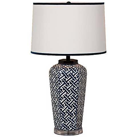 Navy Geo Sake Jar Porcelain Table Lamp