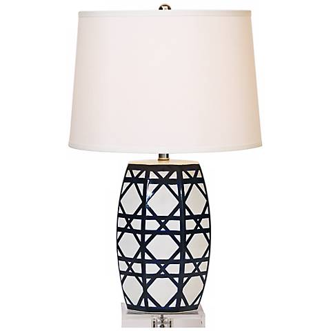 Gazebo Navy Lattice Porcelain Table Lamp