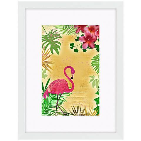 "Yellow Tropical Flamingo 17"" High Bird Wall Art"