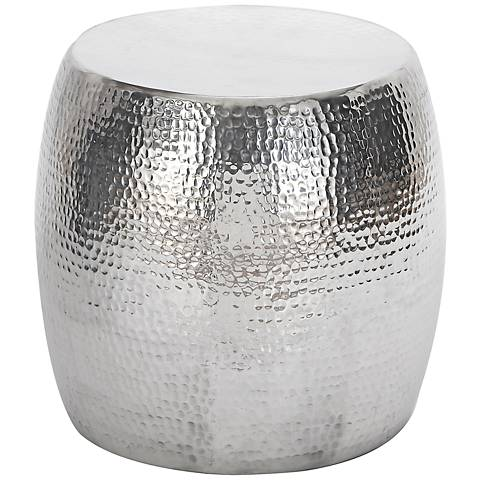 Carbellino Hammered Silver Garden Stool Accent
