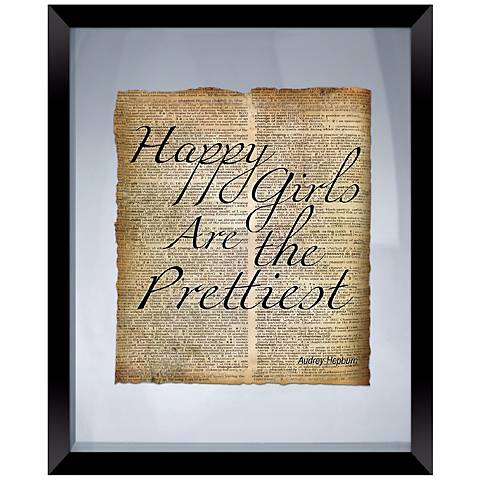 "Happy Girls Quote 22"" High Floating Picture Frame Wall Art"