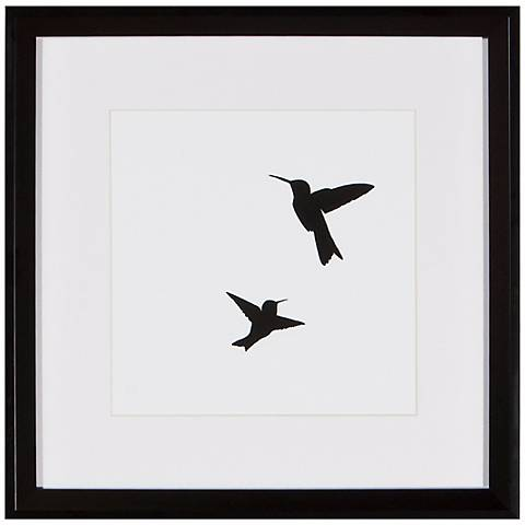 "Hummingbirds 13"" Square Framed Silhouette Wall Art"