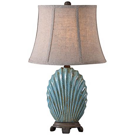 Uttermost Seashell Creckled Blue Accent Lamp