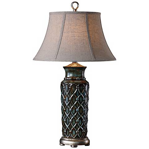 Uttermost Valenza Antiqued Blue Table Lamp