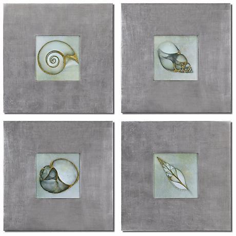 "Uttermost Set of 4 Neptune's Garden 28"" W Seashell Wall Art"