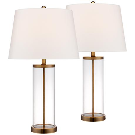 Glass And Gold Cylinder Fillable Table Lamp Set Of 2