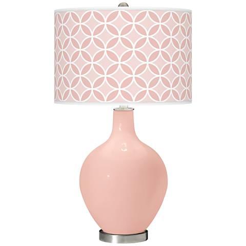 Rose Pink Circle Rings Ovo Table Lamp