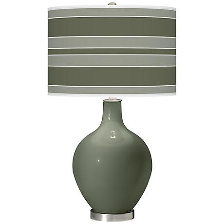 Deep Lichen Green Bold Stripe Ovo Table Lamp