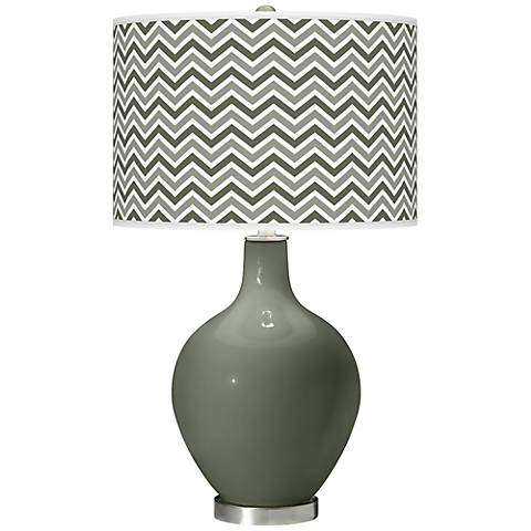 Deep Lichen Green Narrow Zig Zag Ovo Table Lamp