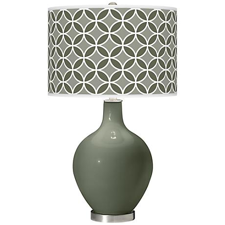 Deep Lichen Green Circle Rings Ovo Table Lamp