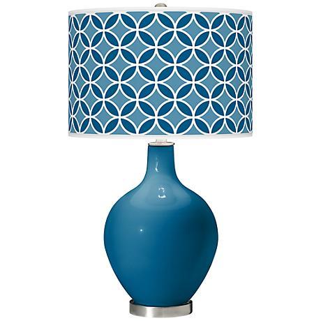 Mykonos Blue Circle Rings Ovo Table Lamp