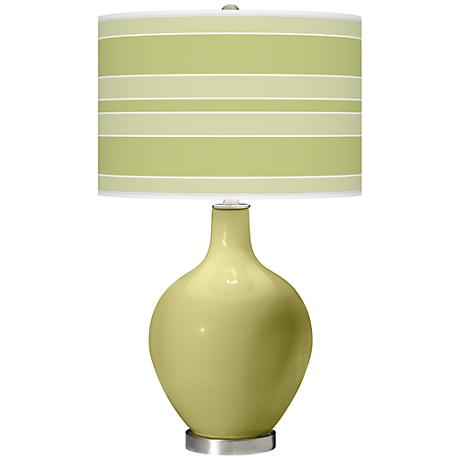 Linden Green Bold Stripe Ovo Table Lamp