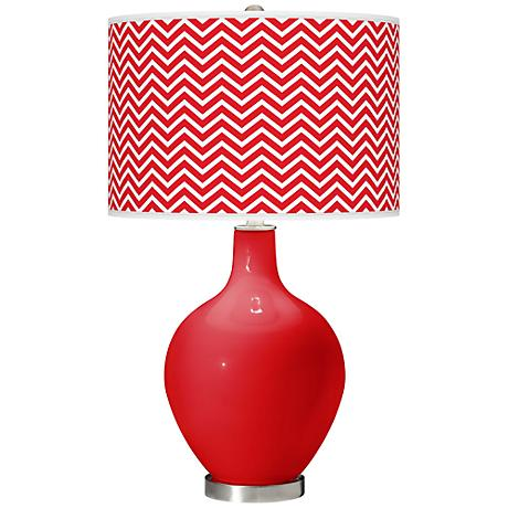 Bright Red Narrow Zig Zag Ovo Table Lamp