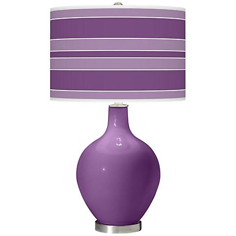 Passionate Purple Bold Stripe Ovo Table Lamp