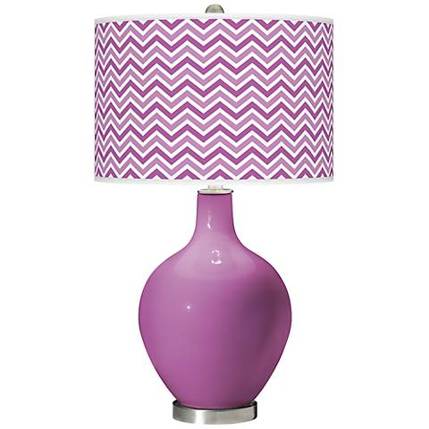 Pink Orchid - Narrow Zig Zag Shade Ovo Table Lamp