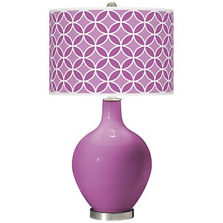 Pink Orchid - Circle Rings Shade Ovo Table Lamp