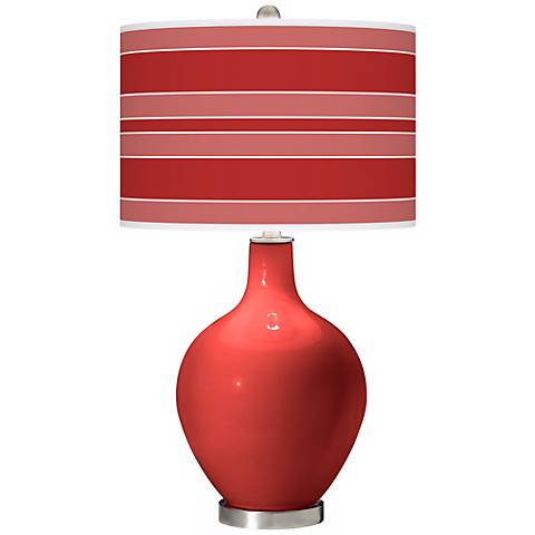 Cherry Tomato Bold Stripe Ovo Table Lamp