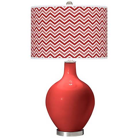 Cherry Tomato Narrow Zig Zag Ovo Table Lamp