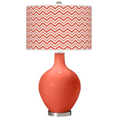 Daring Orange Narrow Zig Zag Ovo Table Lamp