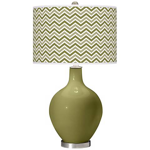 Rural Green Narrow Zig Zag Ovo Table Lamp