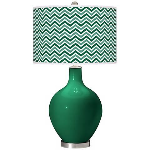 Greens Narrow Zig Zag Ovo Table Lamp