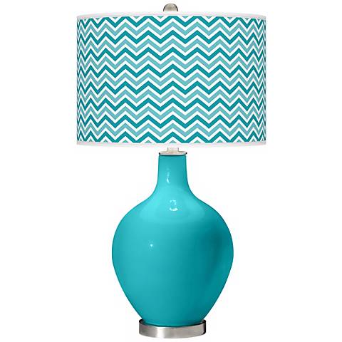 Surfer Blue Narrow Zig Zag Ovo Table Lamp