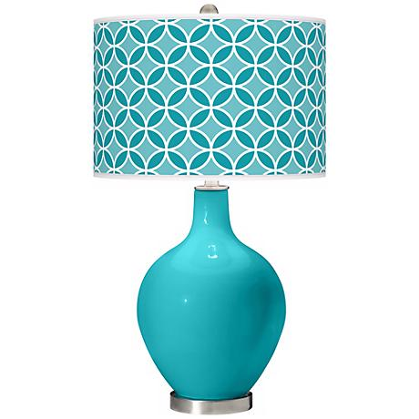 Surfer Blue Circle Rings Ovo Table Lamp