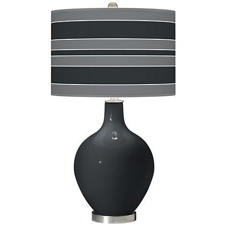 Black of Night Bold Stripe Ovo Table Lamp